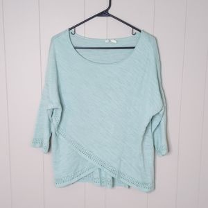 Anthro Moth Mint Crossover Pointelle Knit Sweater